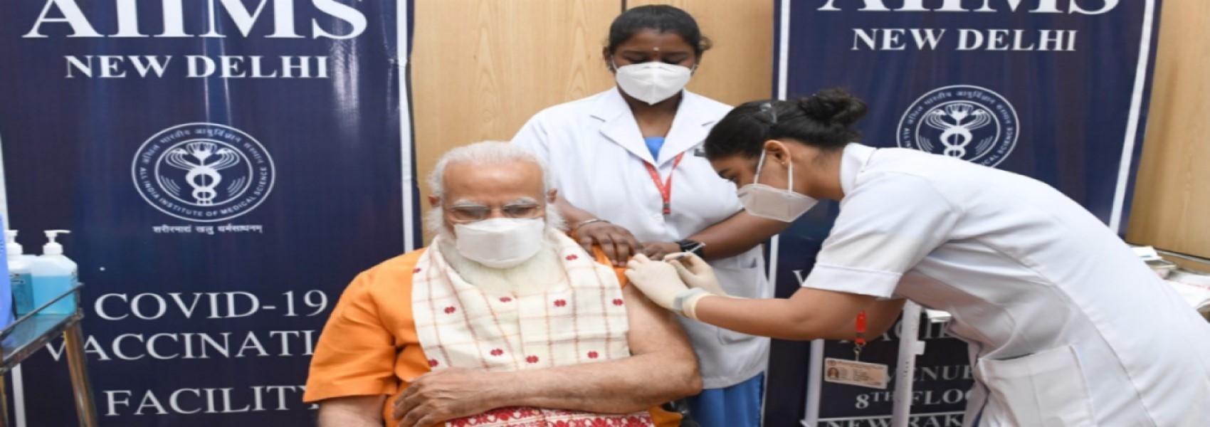 Honorable Prime Minister, Shri Narendra Modi takes second dose of the COVID-19 vaccine, at AIIMS, New Delhi on April 08, 2021