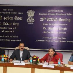 Mrs. Vandana Sharma, Joint Secretary (Pension) (second from right) addressing the member of SCOVA